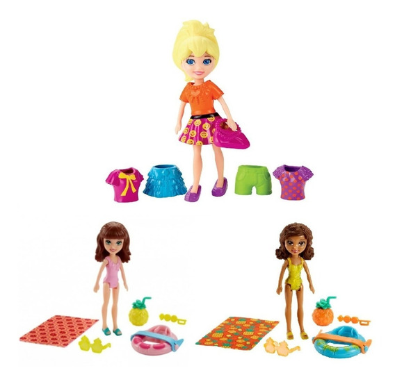 Kit 3 Boneca Polly Pocket Roupas E Acessórios Mattel P