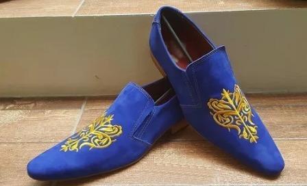 Sapatos Social Masculino Azul Veludo Carteira + Frete Grátis