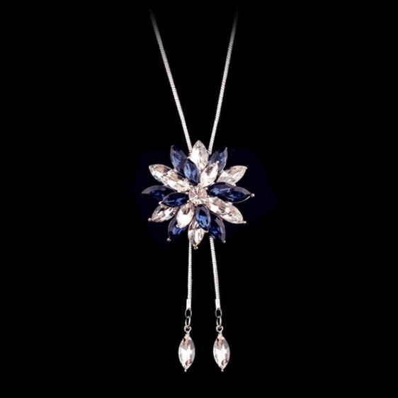 Collar Largo Flor De Cristal Austriaco