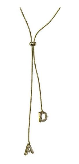 Colar Gravatinha Letras Personalizadas Com Brilhante Em Ouro