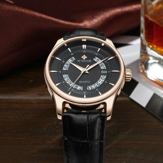 Relógio Masculino De Luxo - Pulseira De Couro Legítimo