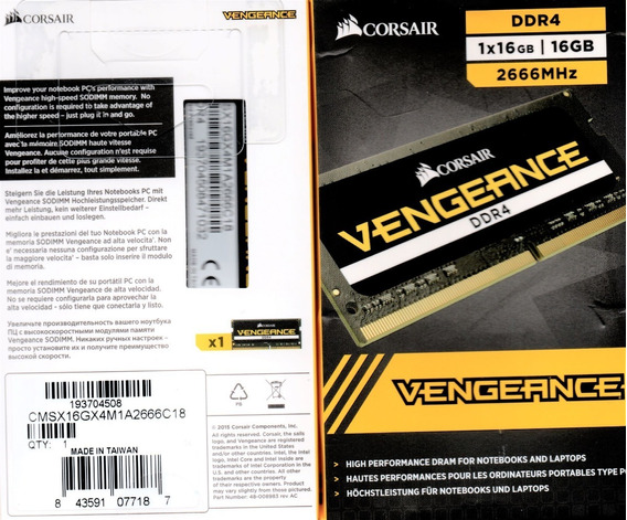 Memória Corsair Sodimm 16gb Ddr4 2666 Mhz Mac / Notebook