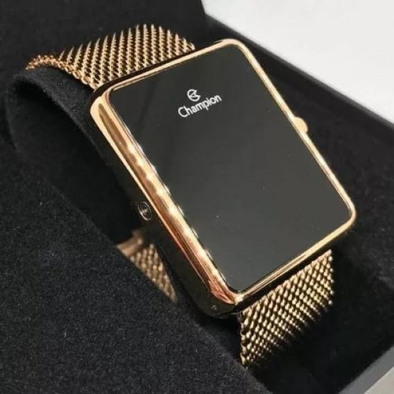 Relógio Digital Feminino Champion Dourado E Roxo Quadrado