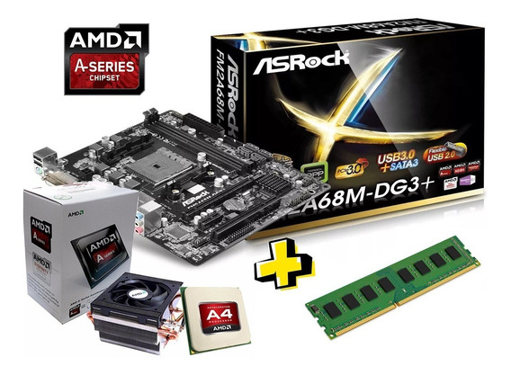 Kit Upgrade Amd A4 6300 + Asrock Fm2 + 4gb Mémoria Ram