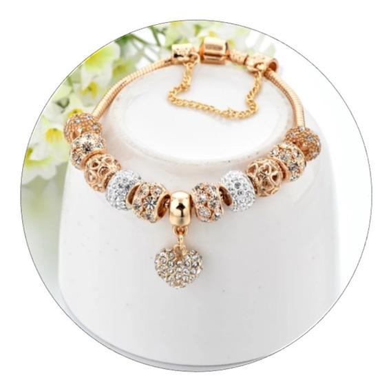 Pulseira Tipo Pandora Com Berloques Dourada Strass P2747
