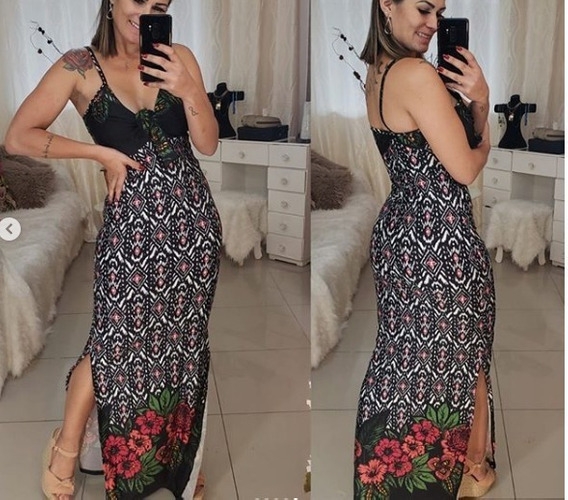 Vestido Longo, Vestido Curto + Body Kit C/ 3 Peças Em Suplex