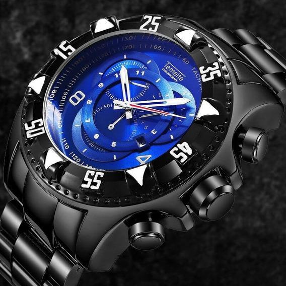 Relógio Masculino Luxo Grande Pesado Temeite Dourado Origina
