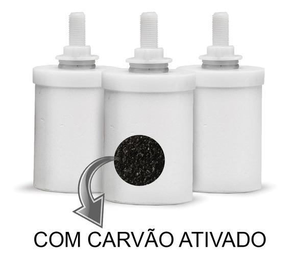 Kit 3 Velas De Filtro De Barro Carvão Ativado Refil Filtro