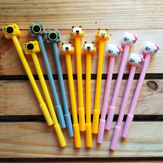 Kit 12 Canetas Variadas (máquina, Garfield, Hello Kitty)