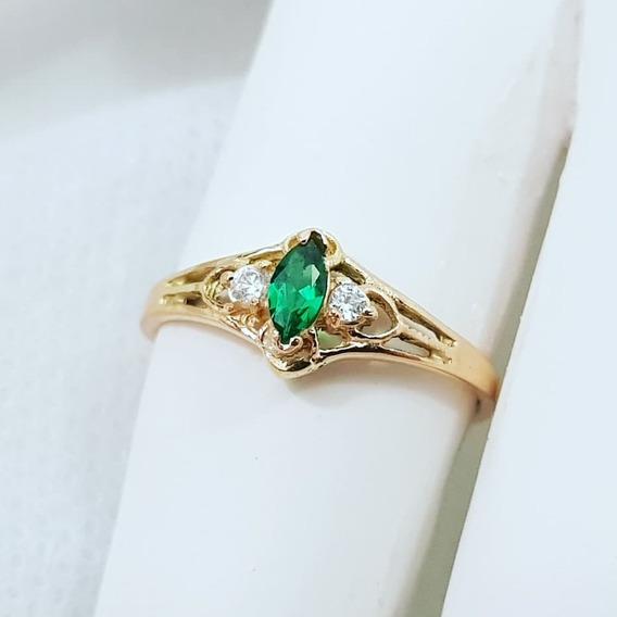 Anel De Formatura Delicado 100% Em Ouro 18k Com Pedra Verde