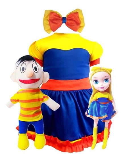Bely Y Beto Vestido + Moño + Muñecos