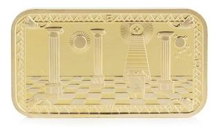 Medalla Lingote Masonería Enchapado Oro 24 Klt.