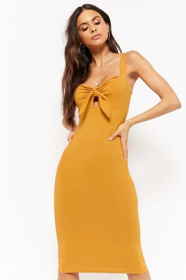 Forever 21 Vestido Midi Liso Stretch Amarillo Mostaza Nudo