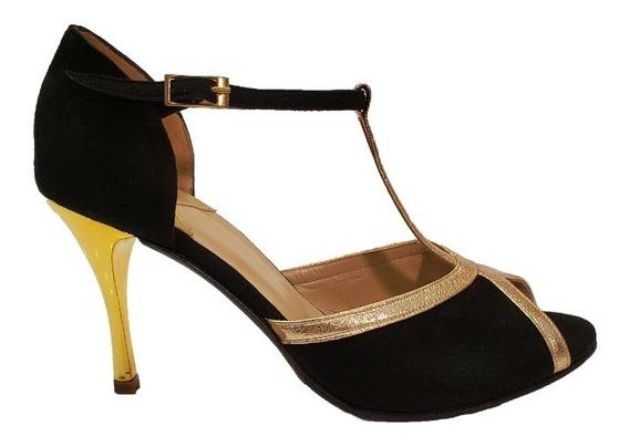 Zapato De Baile Gamuza Negra Y Cuero Oro - Tango Salsa Rock