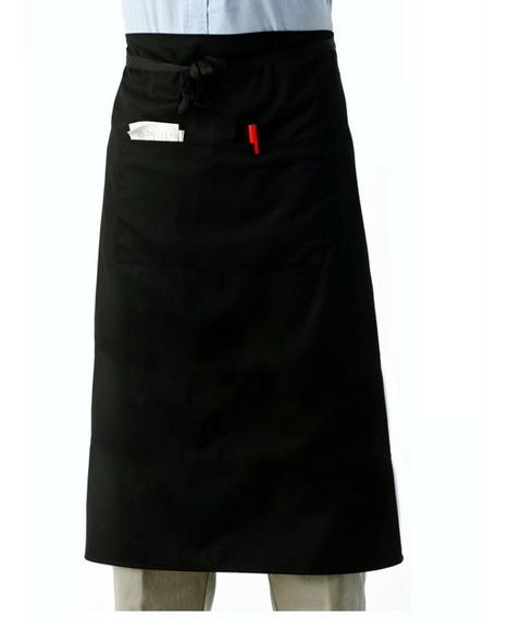 Avental De Cintura Em Oxford Preto Com Bolso - 74cm