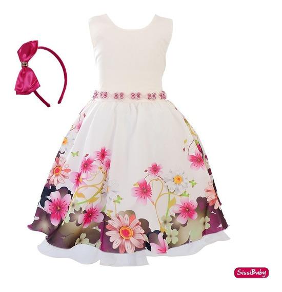 Vestido Infantil Estampado Floral Juvenil Luxo Tiara 4/16