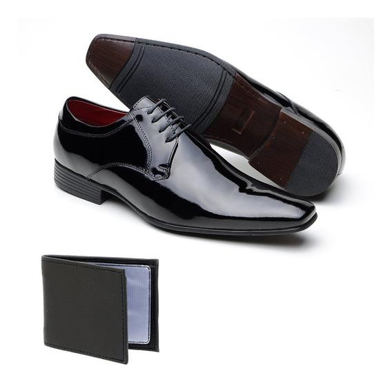 Sapato Social Invernizado Em Couro Carteira Brinde