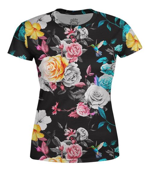 Camiseta Baby Look Feminina Floral Jardim E Beija-flor