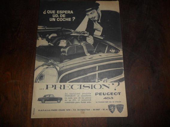 Antigua Publicidad 1963 Peugeot 403 Automovil Dapasa Coche