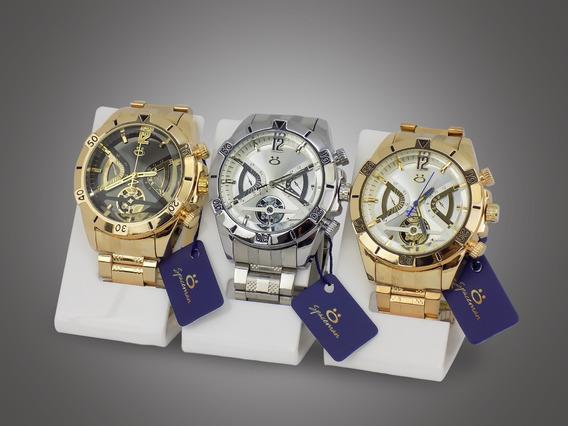 Kit 10 Relógios Masculino Dourado Original Barato Atacado