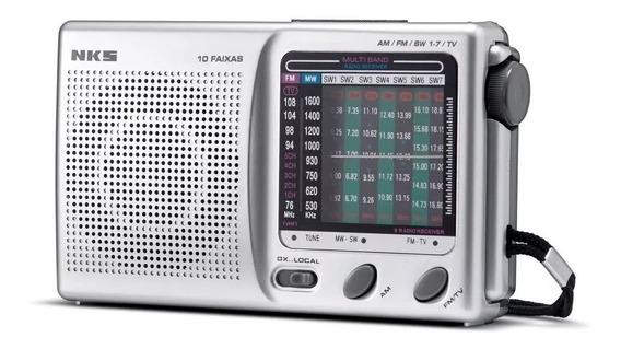 Rádio Am/fm Portátil 10 Faixas Nks Ac117 3v Garantia 1 Ano