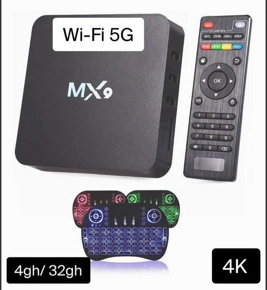 Aparelho Android Tv Box 4k Mx9 32gb + Mini Teclado P/ Jogos