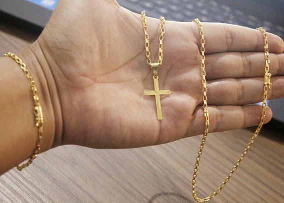 Cordão + Pulseira + Pingente Banhado A Ouro 18k