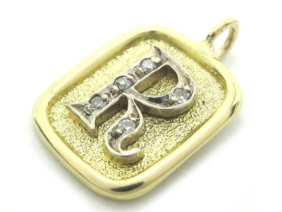 Joianete E9019-10082 Pingente Letra R De Ouro Com Diamantes
