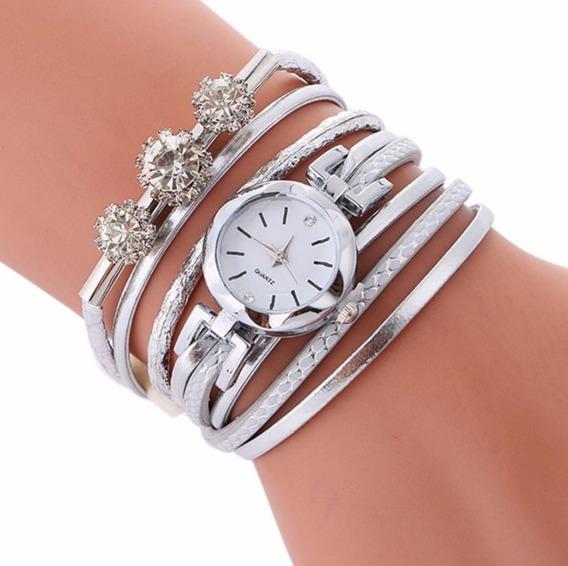 Relógio Feminino Pulseira 3 Cristais Branco Barato Promoção