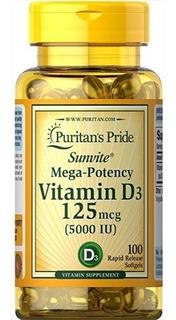 Vitamina D3 5000iu 100 Capsulas Puritan