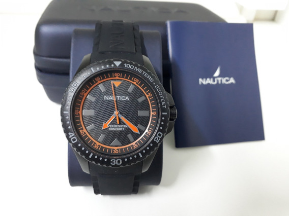 Relógio Náutica Masculino Borracha Preta - Napmau008