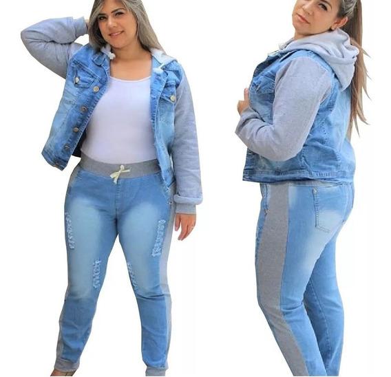 Calça Jeans Com Moletom Plus Size Moda Feminina