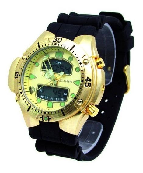 Relógio Masculino Atlantis G3154 Fundo Dourado