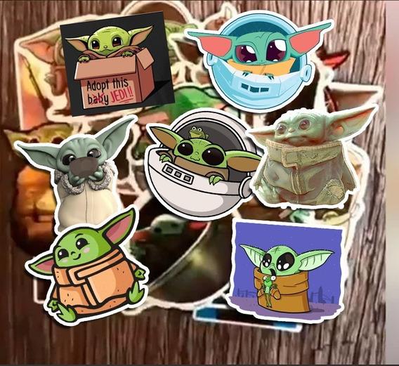 30 Calcomanías Baby Yoda Stickers Etiqueta Calidad Star Wars