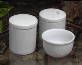 Kit Higiene Bebê Porcelana Potes E Cumbuca 3 Pcs