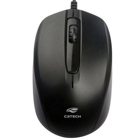 Mouse Usb Óptico 1000dpi Mini Retratil Ms-15bk Preto C3tech