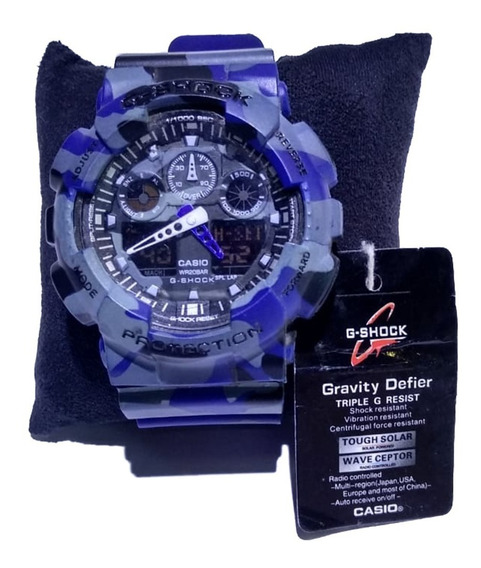 Relógio Casio 5081 Ga-100 Similar G-shock Camuflado Azul