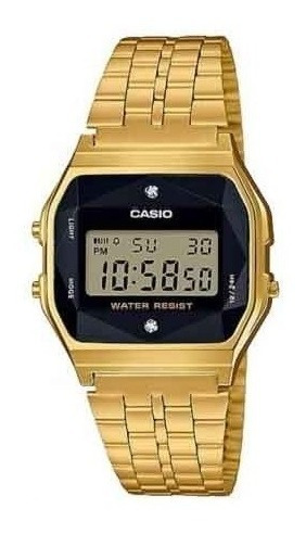 Relógio Casio Unissex Vintage Diamonds Dourado A159wged-1df