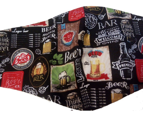 Máscara De Tecido Bar Beer Forro Duas Camadas Kit Com 07
