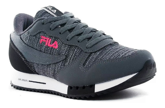 Zapatillas Fila Euro Jogger Lifestyle Mujer Gris Fucsia