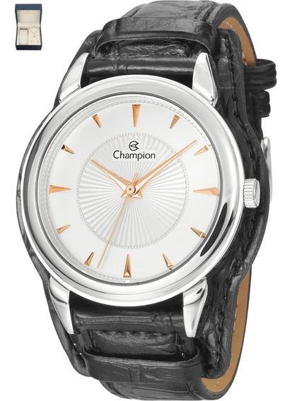 Kit Relógio Feminino Champion Prateado Puls Couro Cn20355c