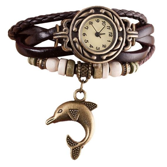 Relógio Feminino Pulseira Couro Pingente Golfinho - Preto