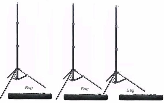3 X Pedestal Tripé De Iluminação C/bag Altura 2m. W803