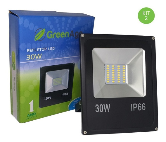 Refletor Led Smd 30w Verde Ip66 Bivolt Kit 2