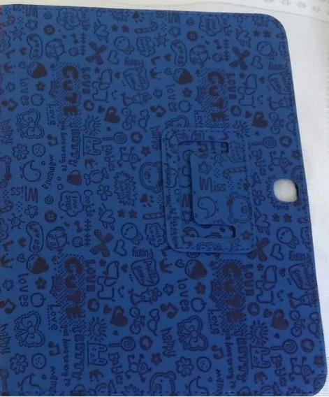 Capa Tablet Samsung Tab 4 T530 10.1 Polegadas Em Couro Sintético Com Desenhos Em Baixo Relevo Promoção Preço Baixo