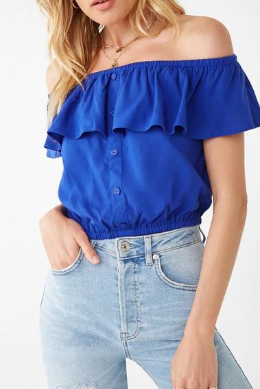 Blusa Feminina Cropped Ciganinha Ombro A Ombro Com Botões