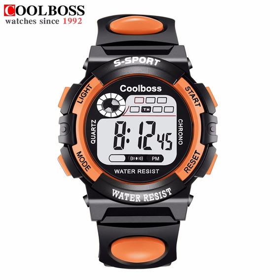 Reloj Digital Sport Marca Coolboss Modelo 0118 Naranja