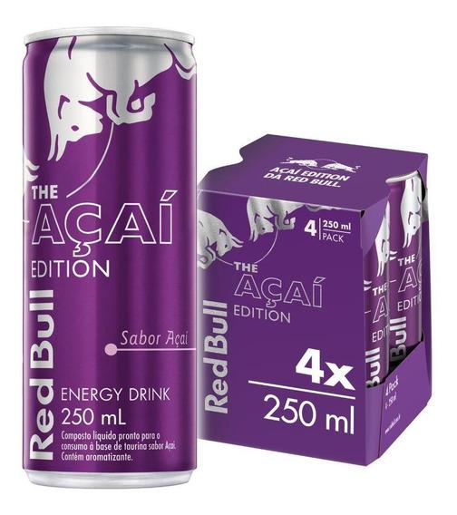 Energético Red Bull Energy Drink, Açaí, 250 Ml (4 Latas)