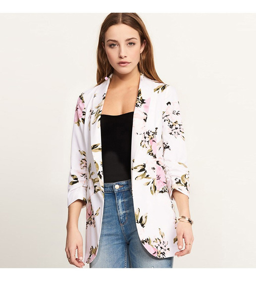 Moda Para Mujer Traje Con Estampado Floral Chaquetas Blazers
