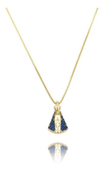 Colar Pingente Nossa Senhora Aparecida Azul Semijoia Ouro 18